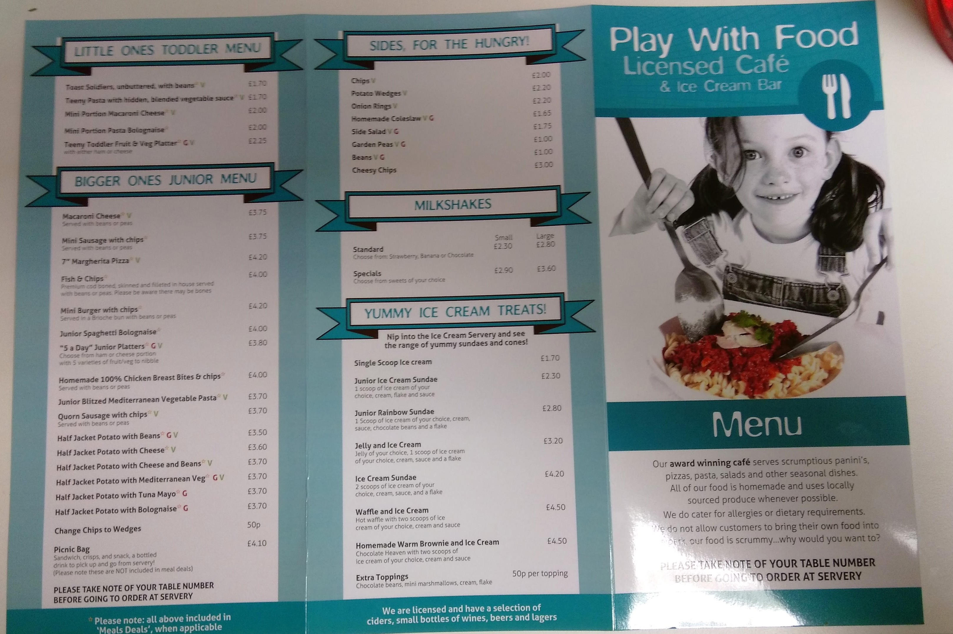 creepy crawlies menu front