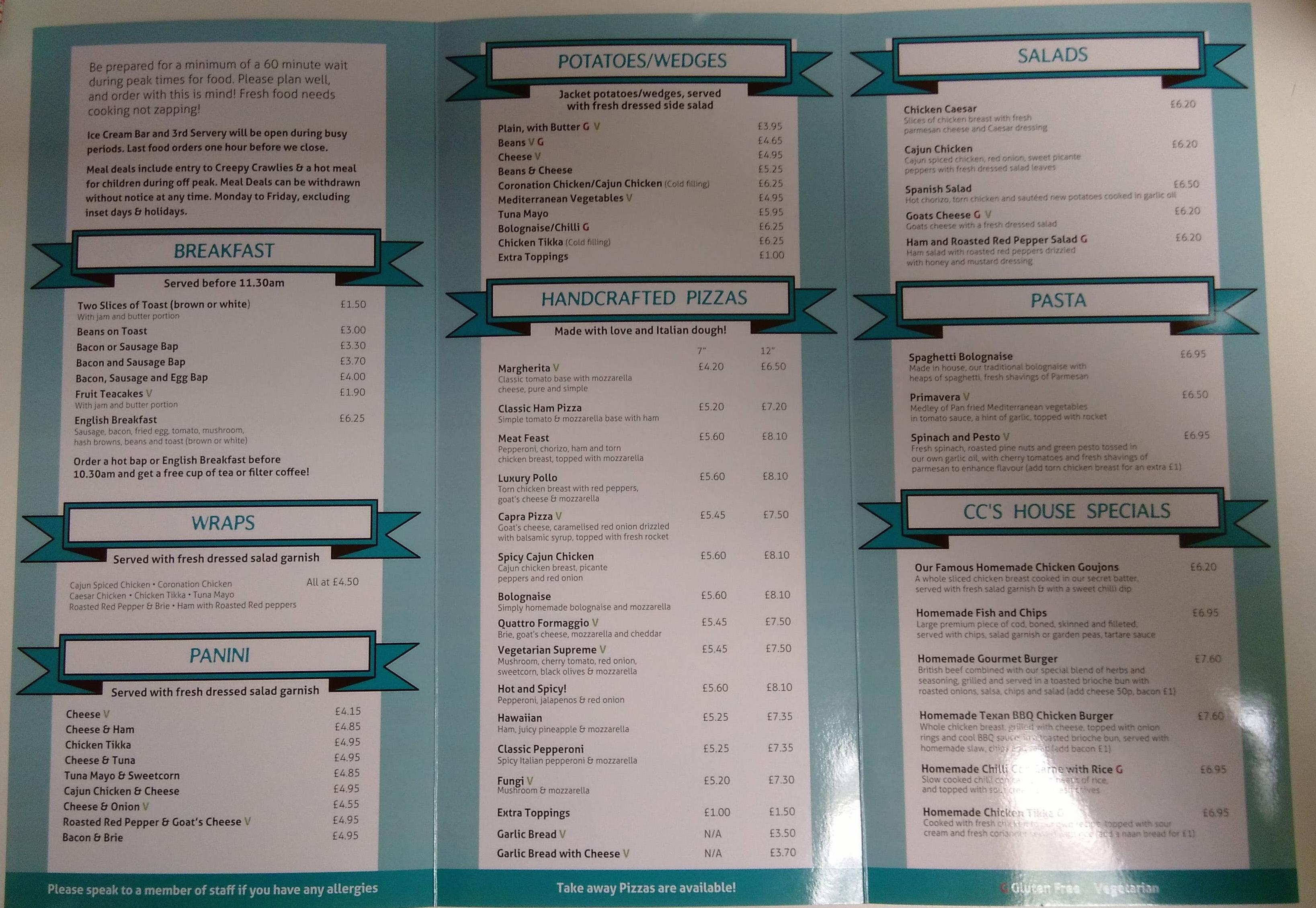 creepy crawlies menu back
