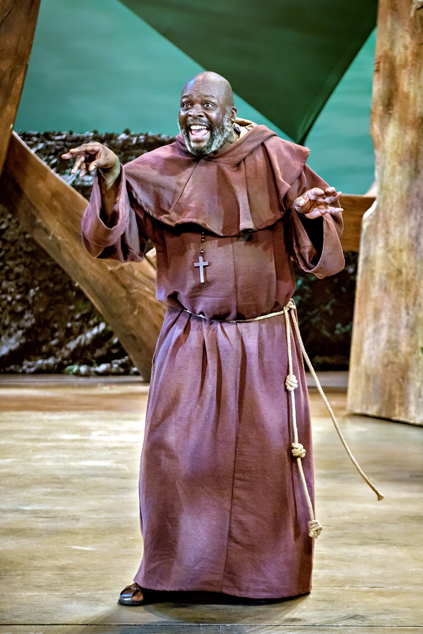 Trevor A Toussaint as Friar Tuck in Robin Hood The Arrow of Destiny. Photo Anthony Robling