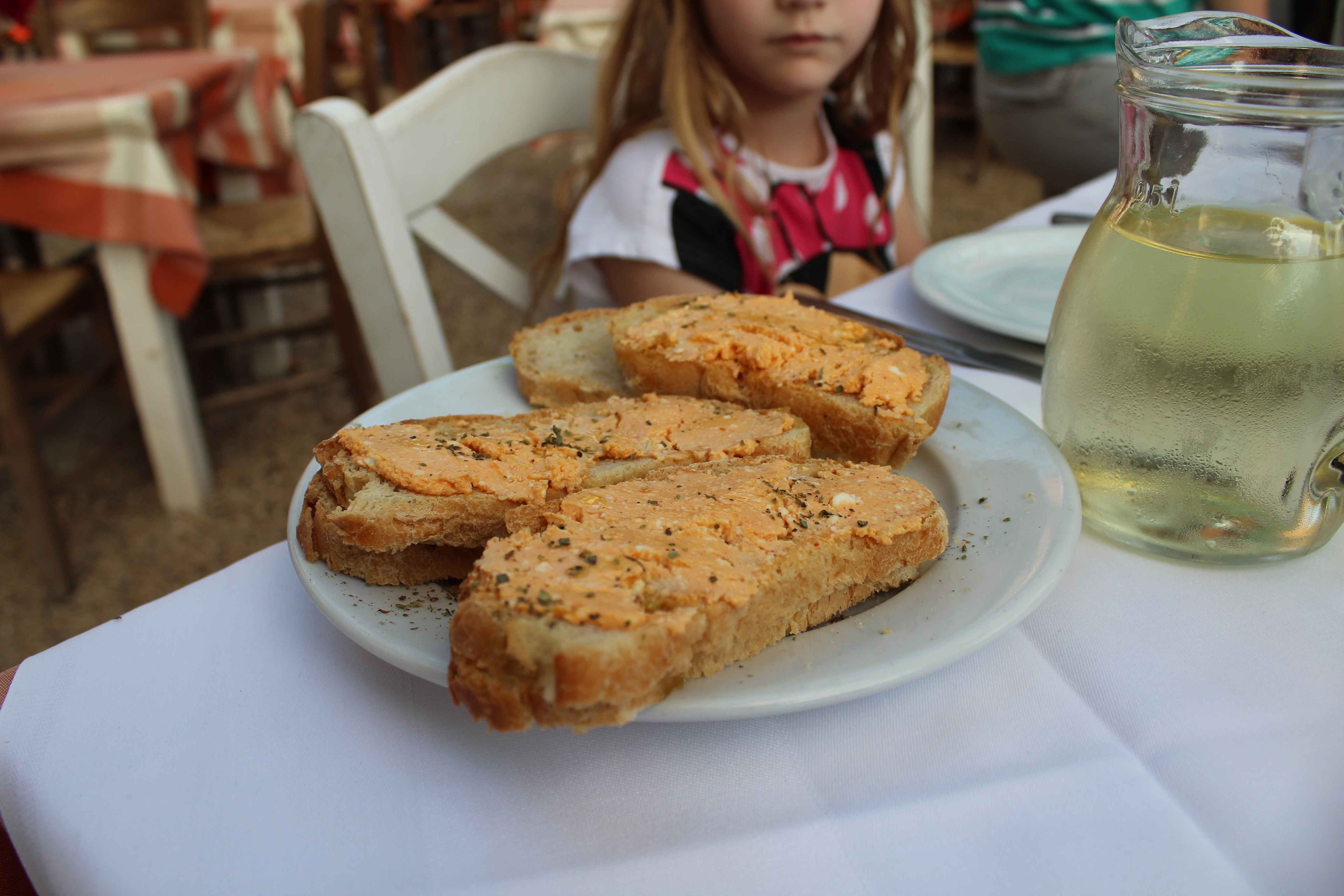 restaurants in stoupa melissa (bread with spicy cheese)