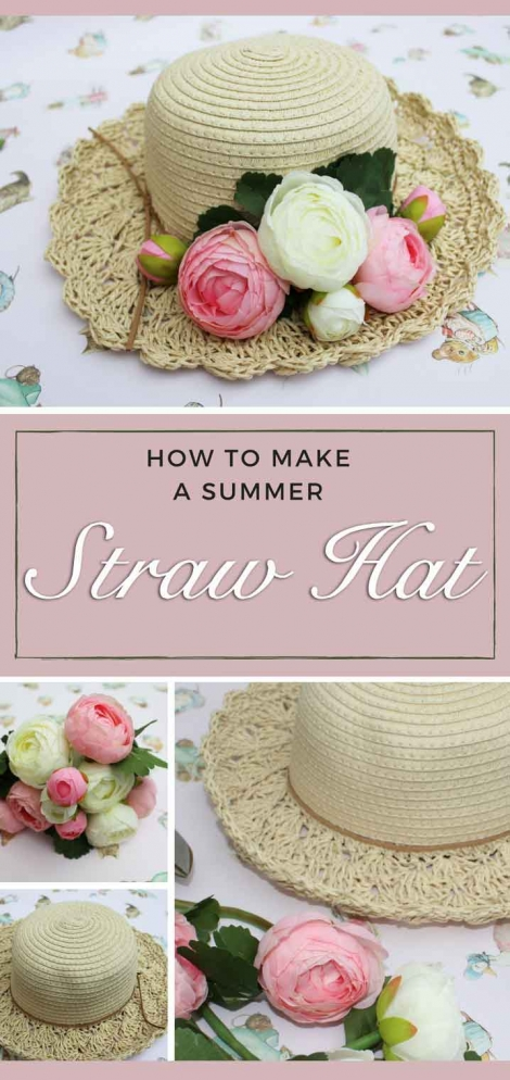 how to make a summer straw hat with flowers (pin)