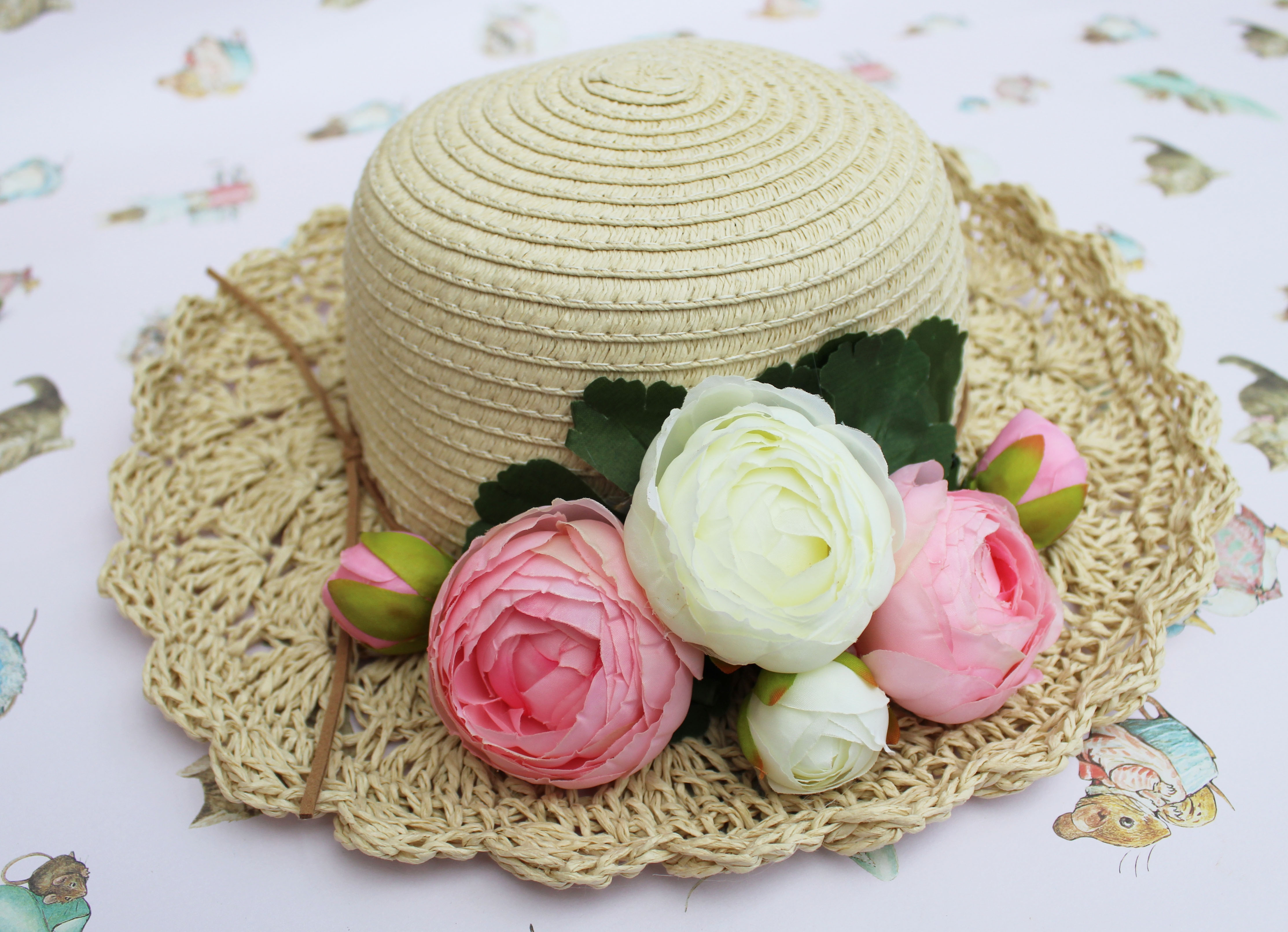 how to make a summer straw hat with flowers (1)