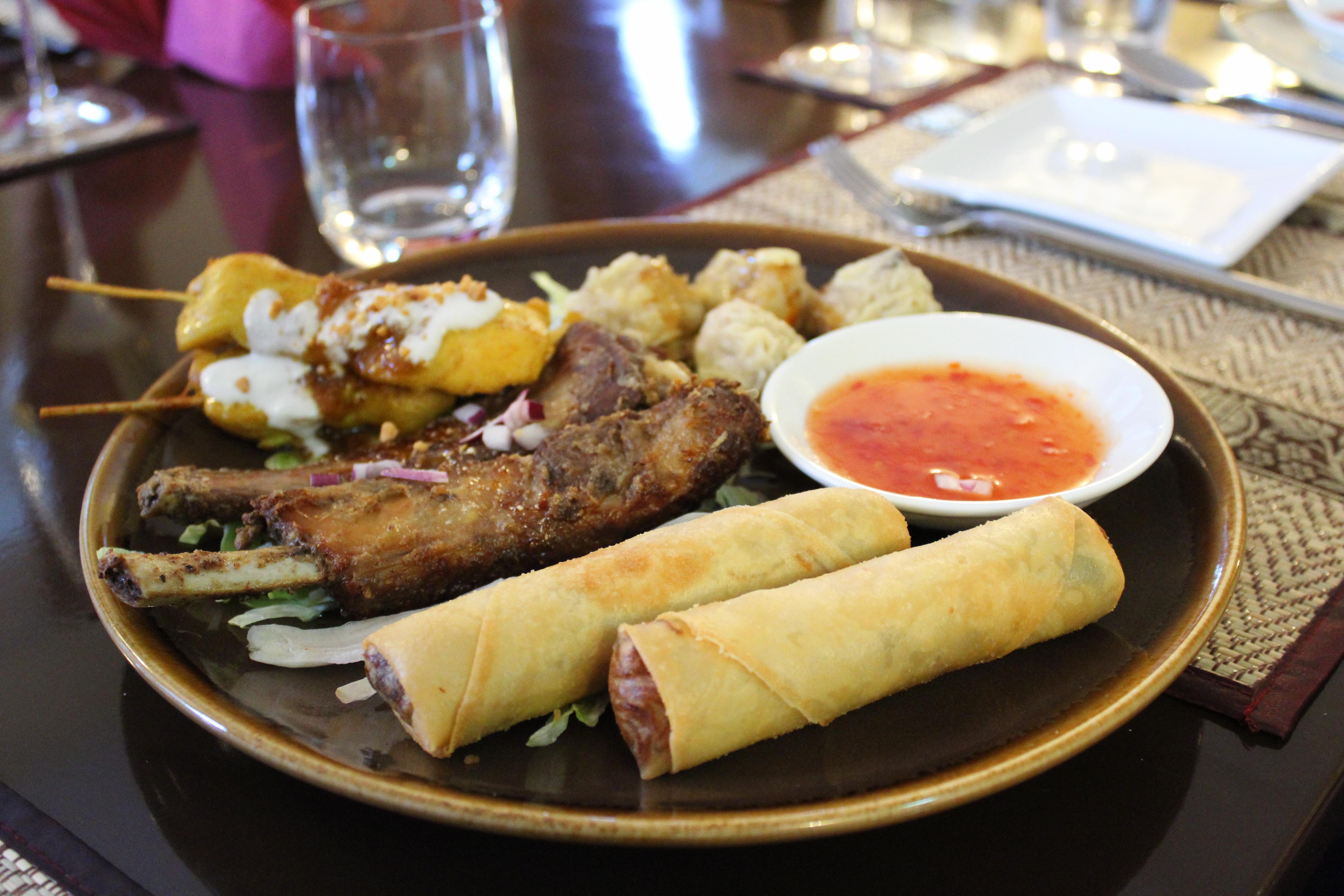 Thai Season by Pritsana Restaurant Pocklington York (Mixed Starter Ribs Chicken Satay Dim Sum Spring Rolls)