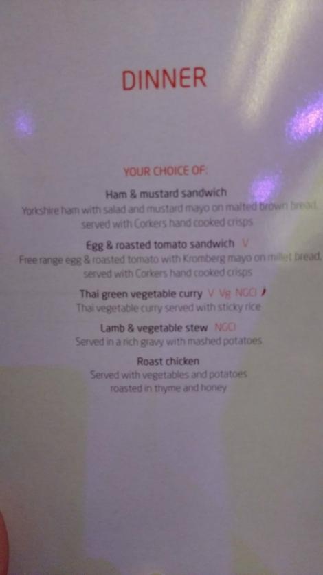 Virgin Trains First Class (Dinner menu)