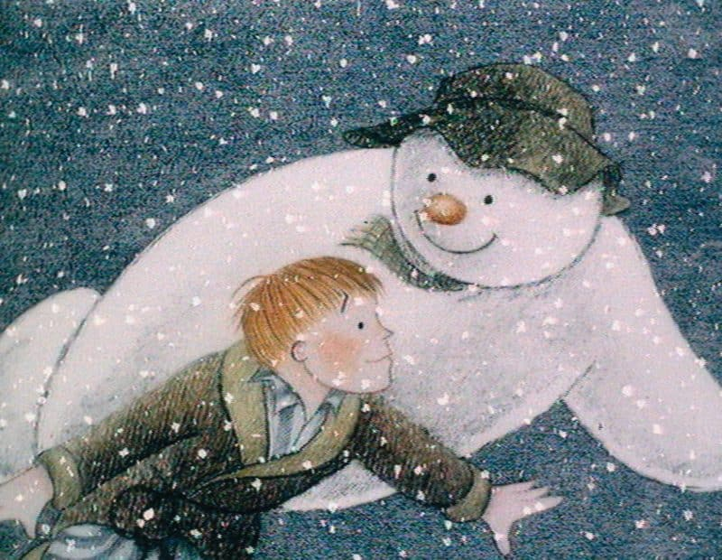 The Snowman at York Minster at Christmas