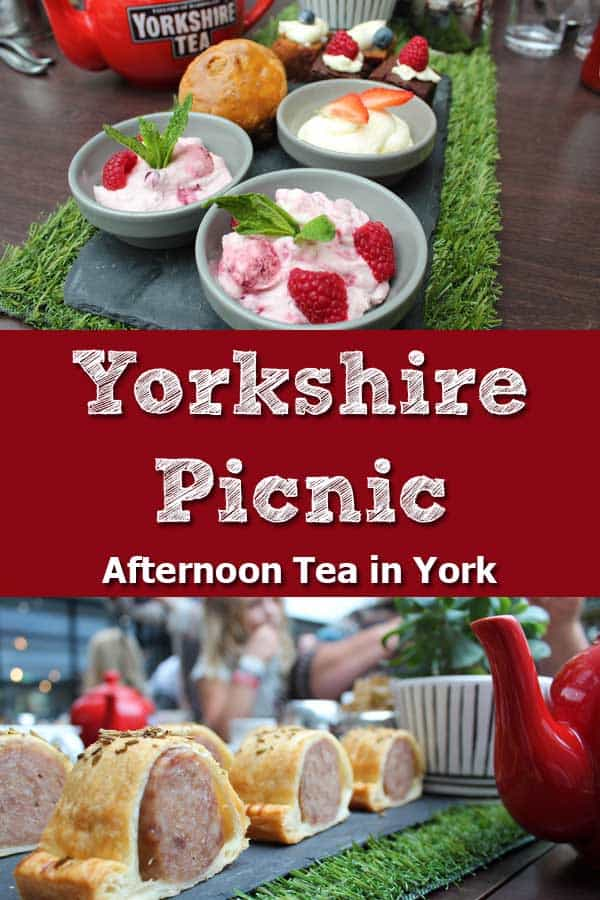 Yorkshire Picnic, Afternoon Tea in York, England. Eton mess, sausage rolls.