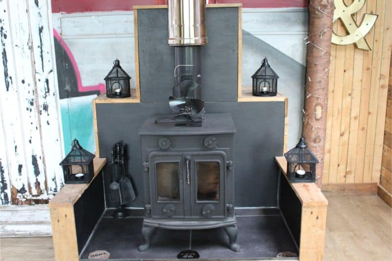 wood burner at Bear's Place Glamping