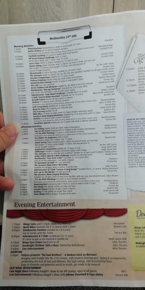 Potters Resort Activity Schedule