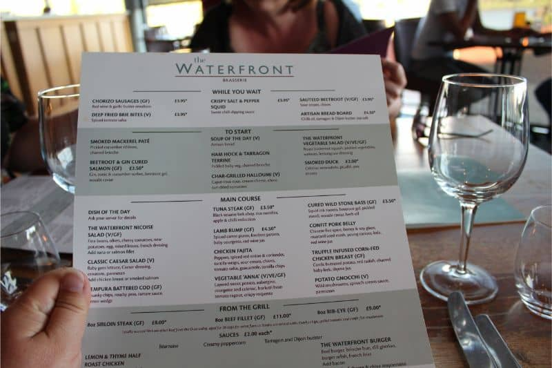 The Waterfront Hotel Restaurant Menu