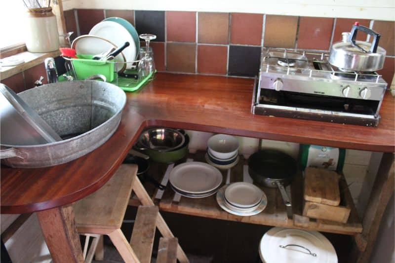 Kitchen in the Tree Lodges at Swinton Bivouac