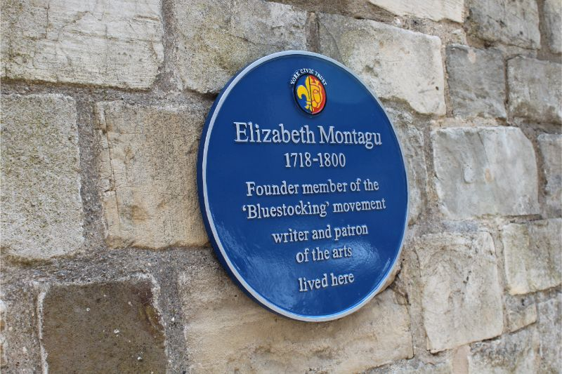 Blue plaque of Elizabeth Montagu outside Treasurer's House