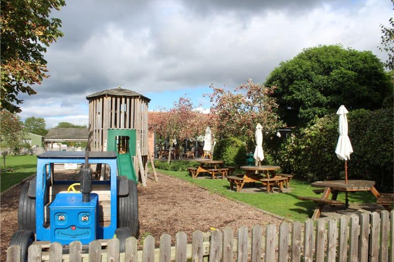 Outdoor play area at The Balloon Tree, York.