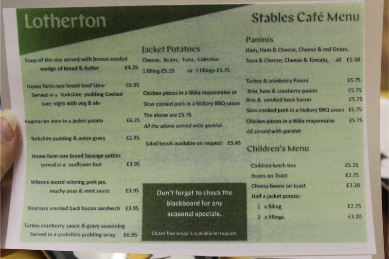 Lotherton Cafe Menu