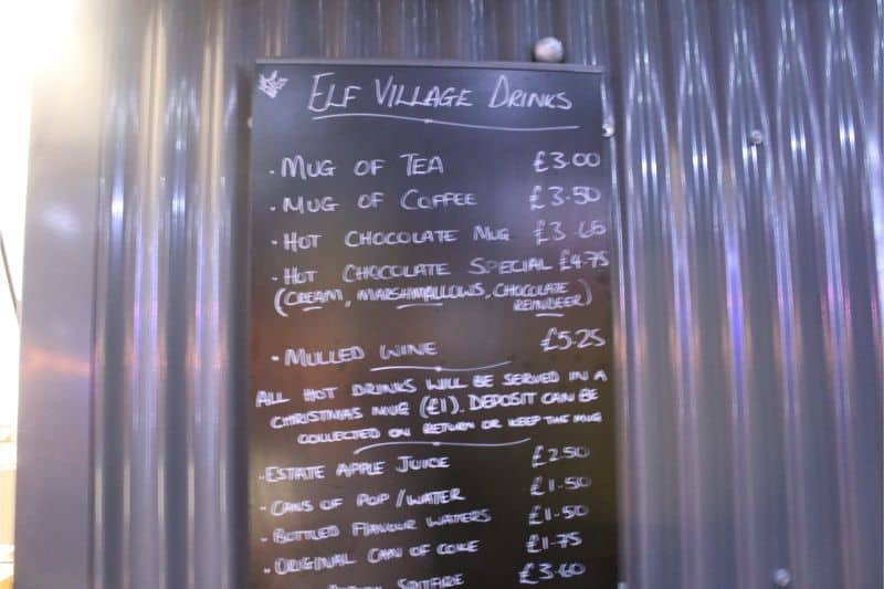 Food Prices at Lotherton Christmas Experience
