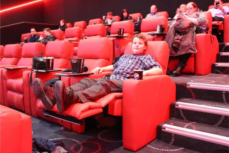 Reclining seats in the VIP screen in Cineworld York